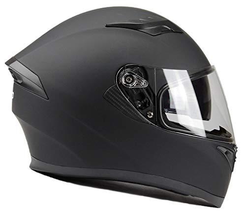 BNO Integralhelm Helm F600 Matt Schwarz Größe S - XXL (XXL (63/64), Matt Schwarz + Ersatzvisier getönt)