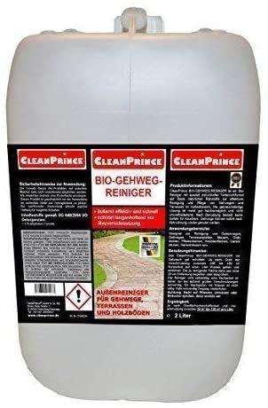 CleanPrince Bio Gehweg Reiniger 2 Liter Konzentrat Bio-Außen-Reiniger 2000 ml Terrasse Terrassenplatten Steinböden Pflaster Hof, für Tiere wie Hunde und Katzen ungefährlich, Gehwegreiniger Pflasterreiniger Außenreiniger