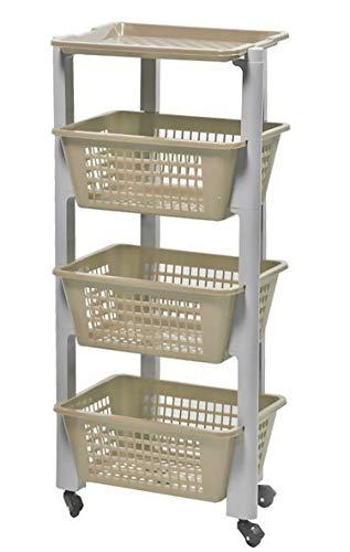 Furein Carrito de Plástico con 4 Niveles, Estantería con Ruedas de PP, Organizador para Cocina y Baño, Estante de Almacenamiento (35x26x80cm)
