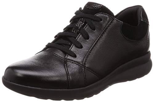 Clarks Un Adorn Lace, Zapatos de Cordones Derby Mujer, Negro (Black Combi-), 37.5 EU