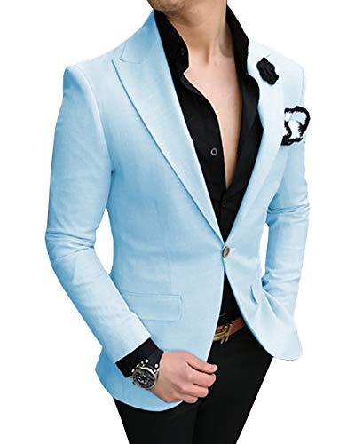 Zeattall Men's Slim Fit 2-Piece Suit One Button Blazer Wedding Suits Casual Suit(42 Regular,Baby Blue)