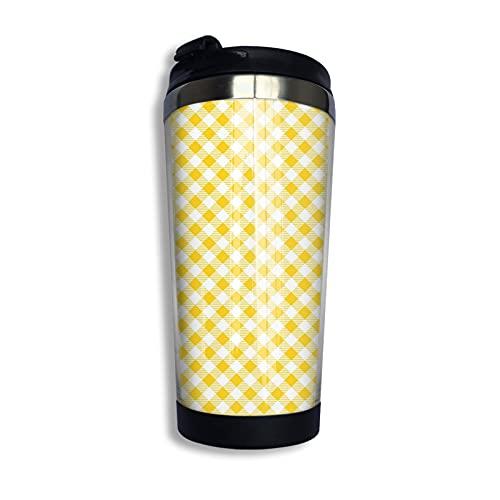 LYYNBLA Yellow Argyle - Taza de café de acero inoxidable aislada para coche, con tapa, 400 ml