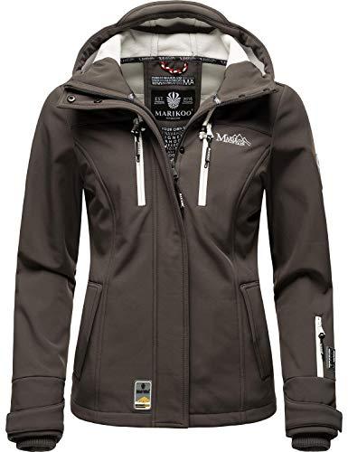 Marikoo Damen Softshell-Jacke wasserdichte Outdoorjacke mit Kapuze Kleinezicke Anthracite Gr. XL