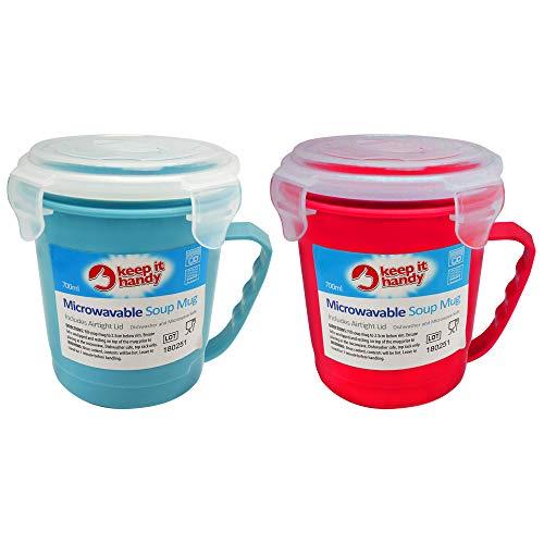 Keep It Handy, mikrowellengeeignete Suppentassen, 700 ml, mikrowellen- und spülmaschinenfest, Suppenbehälter, ungiftig, für Zuhause und Büro, 2 Stück