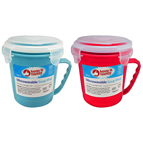 2pk Microwavable Soup Mugs | 700ml Microwave & Dishwasher Safe Soup Containers | Non-Toxic Soup Cup...