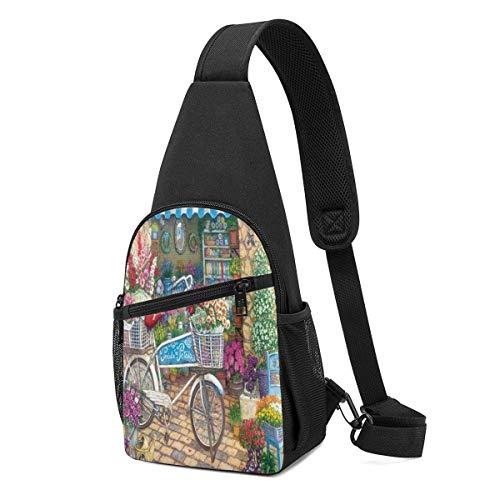 JHUIK Bolsas de acuarela para bicicletas y flores, multiusos, para el pecho, bandolera, con cuerda, mochila de hombro, ligera, divertida, pequeña, pequeña, mini bolsa organizadora de viaje, bolsas par