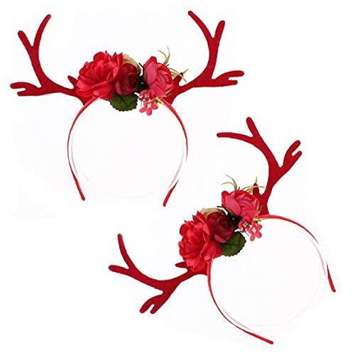 Geweih Stirnband Blume verziert Haarband Weihnachten Elch Horn Hair Hoop DIY Holiday Headwear Party Zubehör Fotografie Requisiten Rot Niedlich Urlaub Geschenk