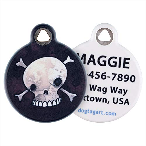 Dog Tag Art Cat or Dog Tag, Personalized Name Tag for Pets (Skull and Crossbones)-Large