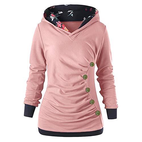 XLKJ Hoodies Women Sweatshirt Button Floral Patchwork Long Sleeve Hooded Autumn Spring Pullovers Sweatshirt Sports Srteetshirt Pink