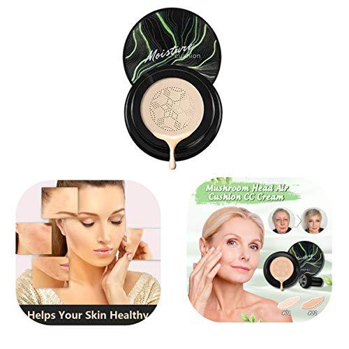 KEAIDO Waterproof Flawless Air Cushion Foundation,Mushroom Head Brush Makeup Foundation Moisture CC Cream Makeup Long Lasting Matte Conceale (Brighten#02)