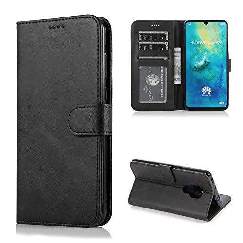 JOYTAG Kompatibel für Huawei Mate 20 Lite Hülle Flip Wallet Holster PU Lederhülle mit Kreditkarte Schlitz Unterstützung Weicher TPU Silikon Stoßstange Handyhülle-Schwarz