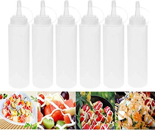 6 Stück Kunststoff Squeeze Flaschen Sauce Gewürzspender Set mit Deckel für Zuhause Restaurant Ketchup, Senf, Mayo, Olivenöl, BBQ Sirup Sauce, Dressings und Werkstattaufbewahrung, BPA-frei, 230 ml,