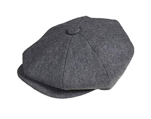 Peaky Blinders Mens Newsboy Style Flat Cap Wool (Medium (57cm), Grey)