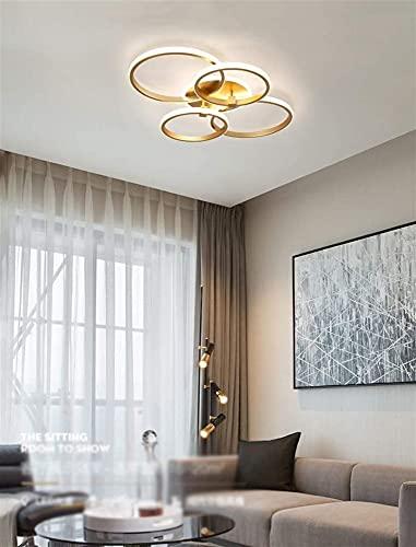 Luz De Techo Regulable LED, Lámpara De Techo De Aluminio De Oro Moderno Lámpara De Techo Lámpara De Acrílico Con Control Remoto Para Cocina Dormitorio Dormitorio Luminaria Colgante (Color : A)