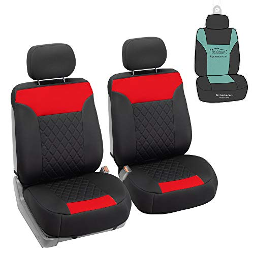 FH Group FB089102 Neosupreme Quality Car Seat Cushions (Red) Full Set with Gift – Universal Fit for Cars Trucks & SUVs