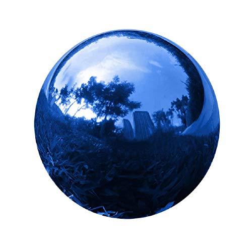 GDglobal Edelstahl Gartenkugel, Spiegelpoliert Hohlkugel Reflektierende Gazing Globe Ball, Dekokugel Spiegelkugel für Haus Garten Dekorationen (200mm, Blau)