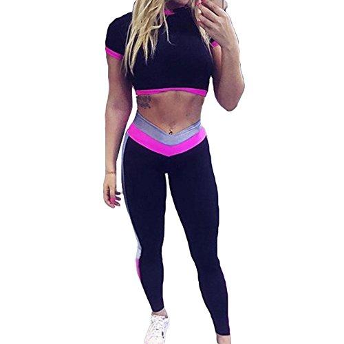 Meedot 2 Pièce Dames Aptitude Costume des Sports Yoga Gym Survêtement Vêtements Ensemble Tenues Femmes Vêtement de Sport Court Manche Longue Un Pantalon Leggings Fonctionnement Un Pantalon Rose L