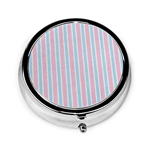 Caja de píldoras redondas con 3 compartimentos Caja de píldoras de viaje Rayas azules Pijama a rayas Patrón rosa Cy Niños Resumen Bebé
