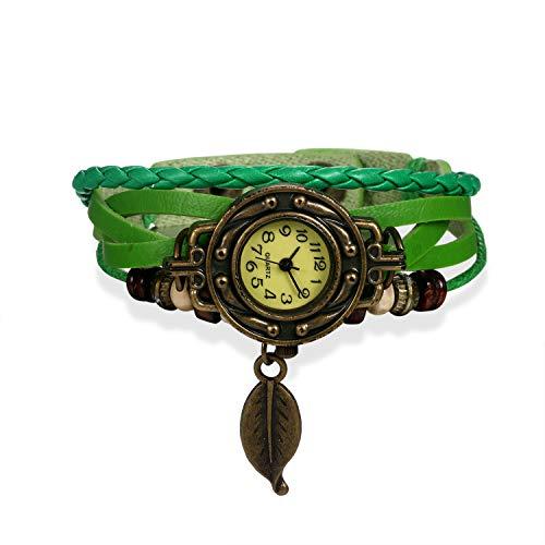 Reloj de mujer vintage multicapas tejido de cuero, pulsera de cuarzo vestido...