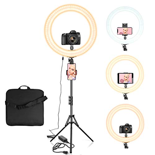 """Ring Light 18"""" with Tripod Stand, Dimmable LED Ring Light 3 Light Modes 2700-5500K with Carry Bag for Camera, iPhone, Ipad, Photography, Selfie, Video Shooting, Makeup & YouTube"""