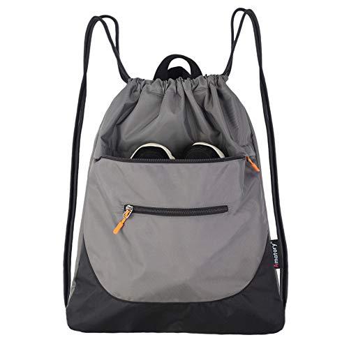 Drawstring Backpack String Bag Gym Sack Sackpack Draw Swimming Athletic Sports (Gray)