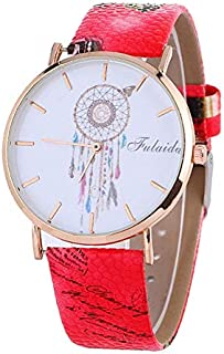 Fashion Falaida Dreamcatcher Pattern Leather Strap Quartz Watch for Women(Blue) Personality (Color : Red)