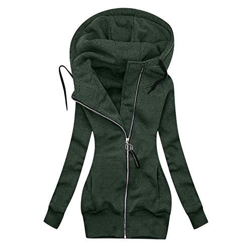 Briskorry Sudadera con capucha para el aire libre, cálida, con cremallera, cálida, para otoño, informal, con capucha, para exterior, abrigo de invierno, verde-1, XL