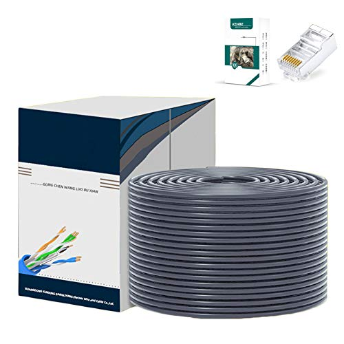 AKT Cable de Ethernet Cable de Red Cat 6e de 1 Gbps Cordón de Parche de Par Trenzado Cable LAN de Internet UTP Cat6 Ethernet RJ45,Gray,200m