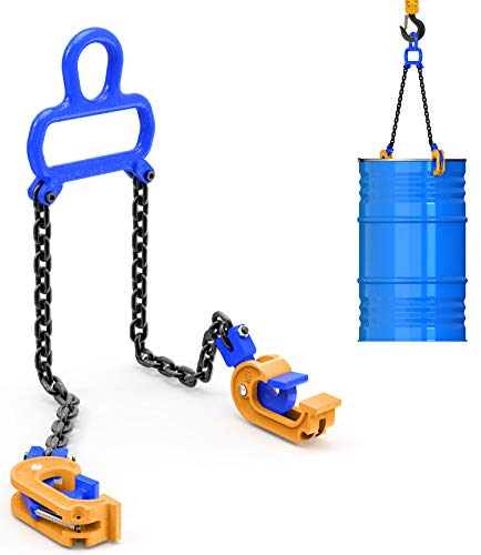 WowDIY Chain Drum Lifter - 2000 lbs Capacity - Suitable for Blue Plastic and Metal Drums