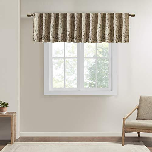 Andora Embroidered Rod Pocket Valance , Tree Small Faux Silk Valances for Window , 50X18' , Tan