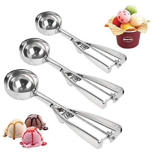 POKIENE Eisportionierer Set Edelstahl 4/5/6 cm | Eislöffel mit Auswerfer | Ice Cream Scoop für Obst, Eiskugeln, Kartoffelpüree