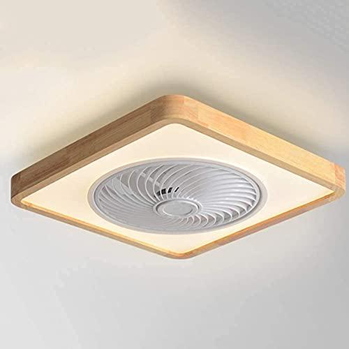 Lámpara de ventilador de techo de madera de simplicidad moderna con iluminación LED de 32 W con control remoto/aplicación móvil Perfil bajo Velocidad de viento ajustable Atenuación Luz de ventilado