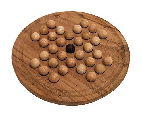 ROMBOL Solitaire, groß, mit Leinesäckchen für die Kugeln, Denkspiel, Knobelspiel, Holzspiel