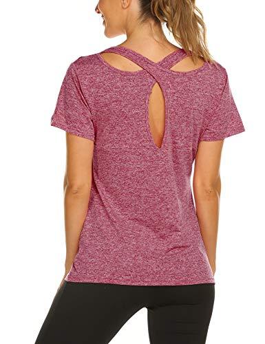Iwoo Ladies Moisture Wicking Solid & Heather Short Sleeve Yoga Top, Red Wine, L