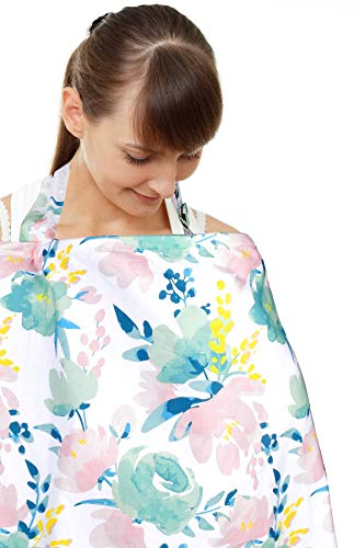 Nursing Cover, Baby Breastfeeding Apron and Wide Privacy Feeding Hider for Moms (Flowers)