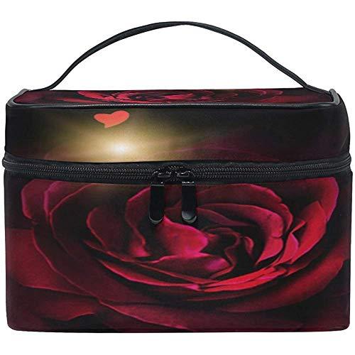 Trousse de Maquillage Love Heart Roses Rouges Trousse de Maquillage, capacité et Trousses de Maquillage réglables Trousse de Toilette étanche