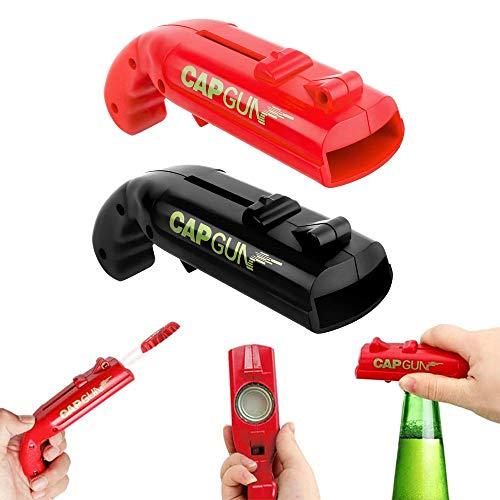 kangji 2 Pezzi cap Gun, Apribottiglie con Tappo a Pistola, Apribottiglie a Forma di Pistola, cap Gun Bottle, per Gioco di Bevute da Casa Bar (Nero e Rosso)