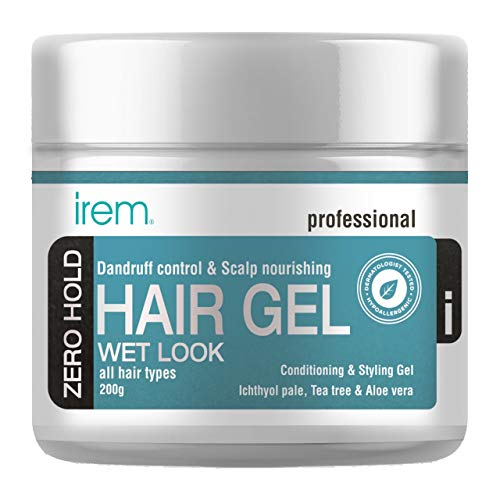 Irem Dandruff control & Scalp nourishing hair gel - Conditioning and Styling Gel For Men & Women - With Ichthyol Pale, Tea tree and Aloe vera extract - Zero hold - All hair types 200g