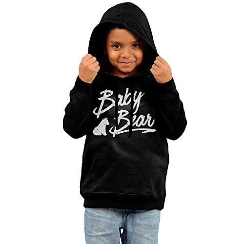 ZheuO Boys & Girls Baby Baby Bear Hip Hop Fashion Hoodie Hooded Sweatshirt 3 Toddler Black