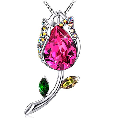 J.RENEÉ Collar Mujer, Colgante Collar de Rosas, con Cristales Rojo de Austria,...