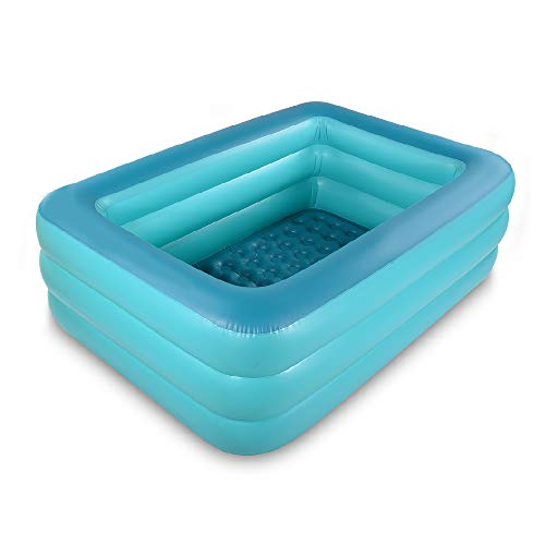 Bañera inflable con piso suave inflable, extra grande, plegable para adultos, bañera portátil antideslizante, para spa familiar, piscina hinchable para verano (verde)