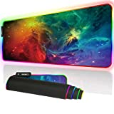 Cmhoo XXXL Gaming Mouse Pad RGB Keyboard Pad Large Glowing Led 35.4x15.7IN 3MM Thick Non-Slip Desk Pad - 90x40 FGsky005