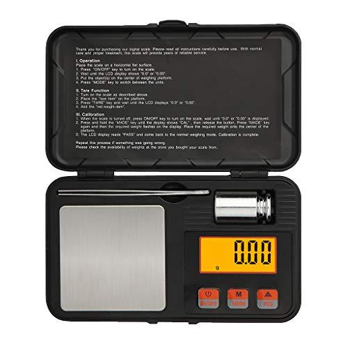 Incdnn Digitale Taschenwaage, 200 g, 0,01 g, Gold, Schmuck, Karatzählung, mit Pinzette