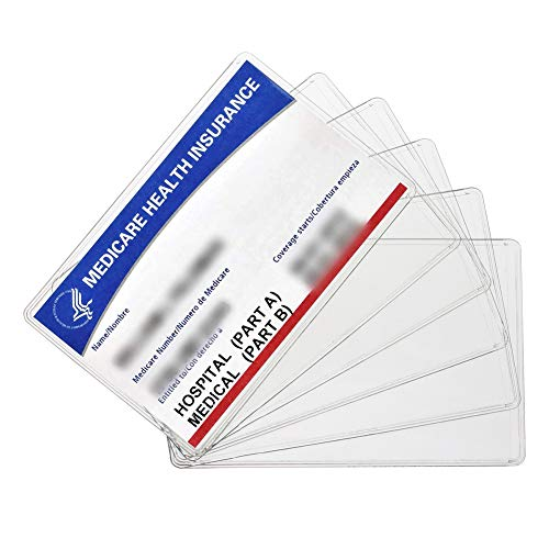 New Medicare Card Holder Protector Sleeves, 12Mil Clear PVC Soft Waterproof Medicare Card Protector for New Medicare Card Credit Card Business Card, Heavy Duty Card Sleeves(6 Pack)