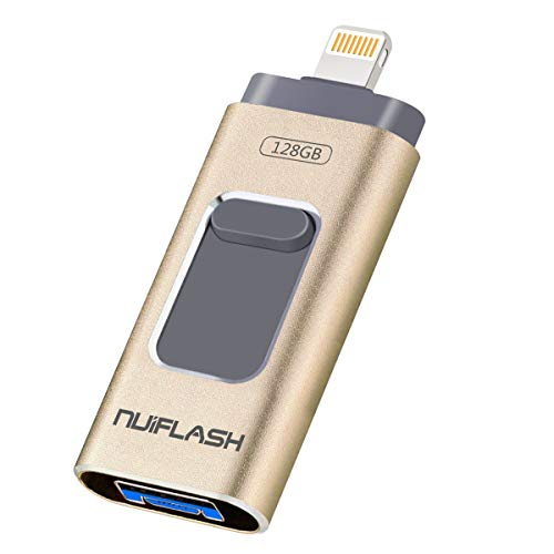 USB Flash Drive 128GB for iPhone Memory Stick [3 in 1] Photo Stick Flash Drive 3.0 nuiflash Thumb Drive Jump Drive Compatible for iPhone/iPad/PC/Android(128GB,Gold)