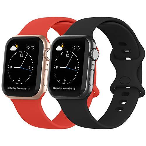 Recoppa Kompatibel mit Apple Watch Armband, Silikon Armband mit Druckverschluss für Apple Watch Series 6 5 4 3 2 1 SE, Schwarz+Rot, 42mm/44mm S