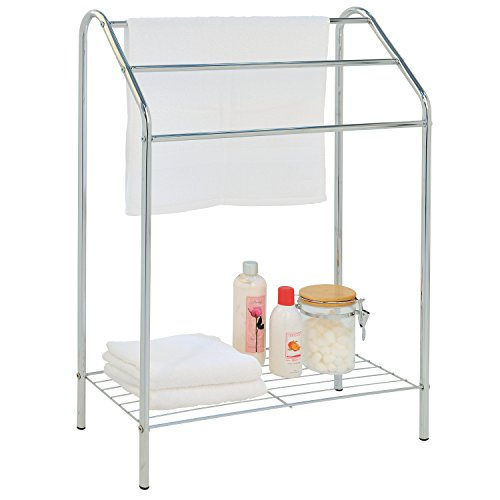 MyGift Freestanding 3 Tier Metal Towel Rack, Chrome Bathroom Towel Bar, Silver-Tone