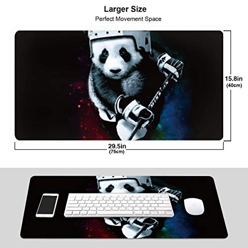 Galaxy Hockey Panda Extended Gaming Mouse Pad with Stitched Edges, Long Mousepad (29.5x15.7In), Desk Pad Keyboard Mat, Non-Slip Base, Water-Resistant, for Work & Gaming, Office & Home