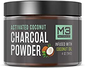 M3 Naturals Activated Charcoal Powder Infused with Coconut Oil Natural Teeth Whitening Tooth Whitener Safe Alternative to Toothpaste White Strips Kits Gels 4 oz