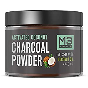 M3 Naturals Activated Charcoal Powder Infused with Coconut Oil – Safe Natural Teeth Whitening Alternative Charcoal Toothpaste – Vegan, Organic, Gluten Free, Paraben Free Gels 4 oz